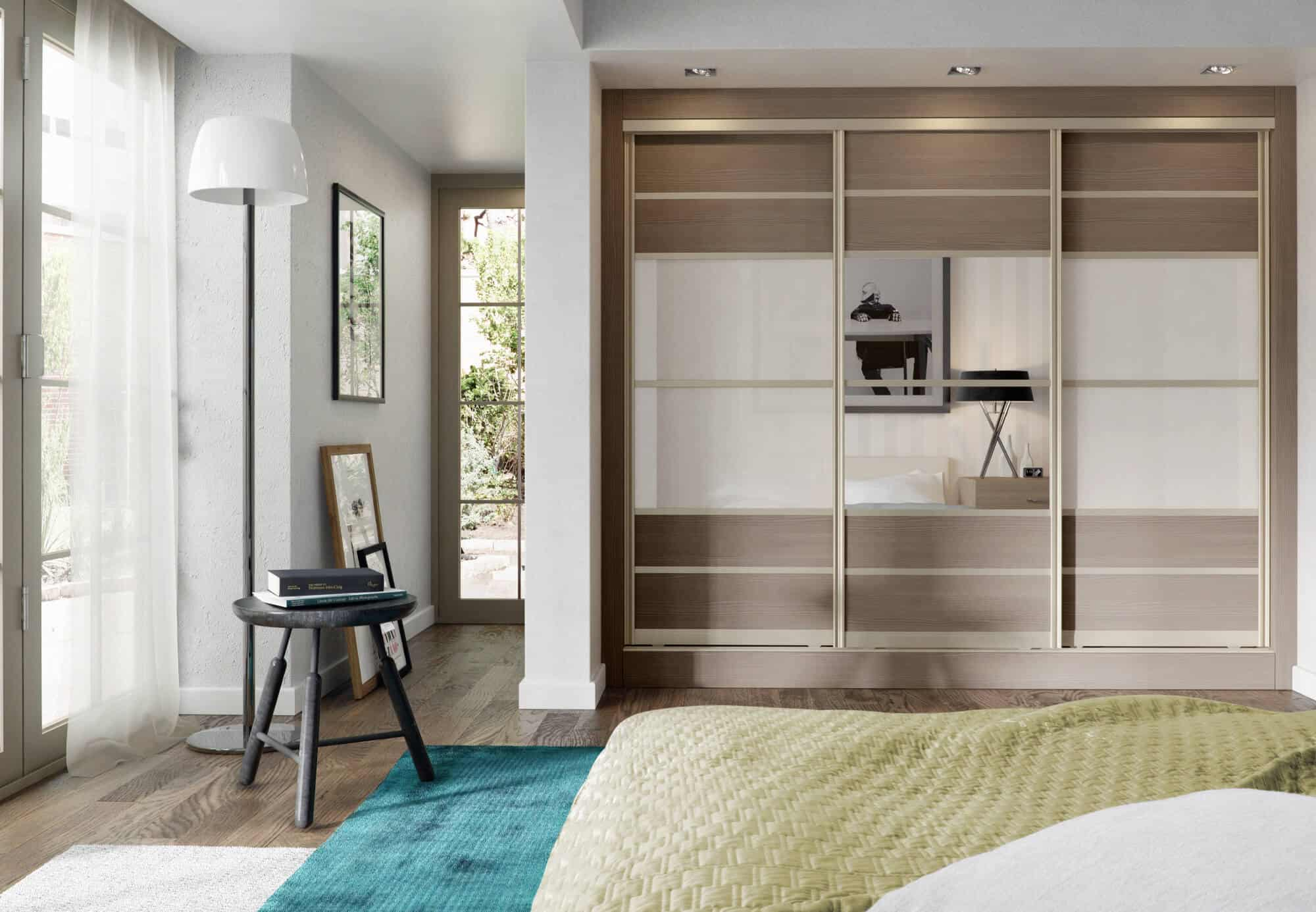 Minimalist bedroom design with sliding door wardrobes