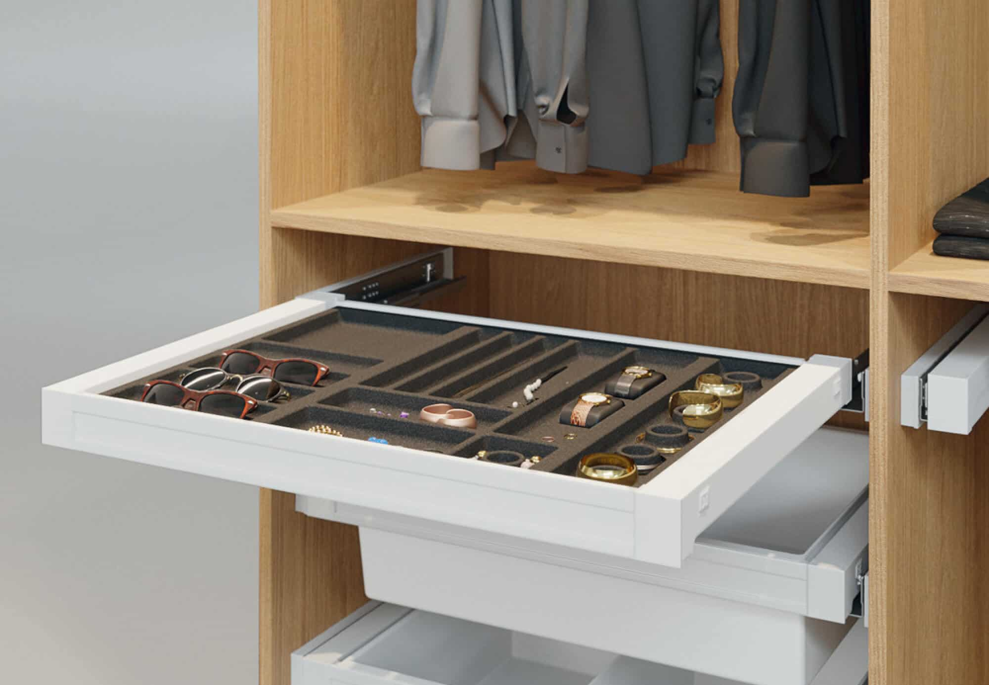 Accessory organiser drawer for bedrooms