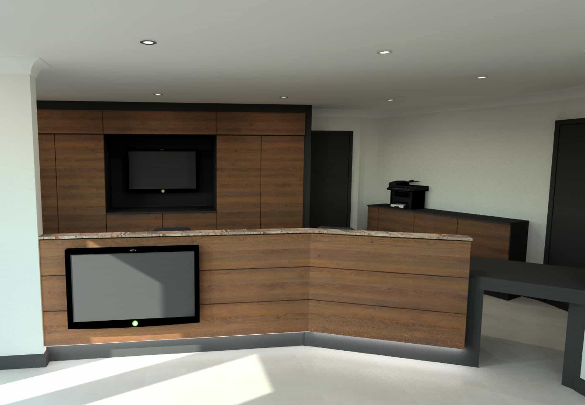 Commercial Office Design with Walnut Fixtures