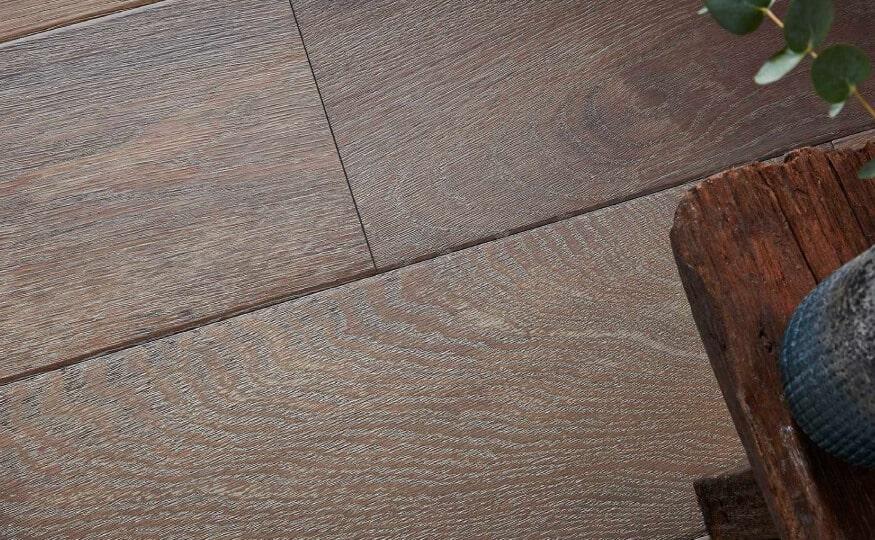 Close up of dark hard wood flooring