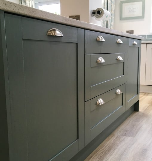 Close Up of Cupboard & Drawers in Farrow & Ball French Grey Finish