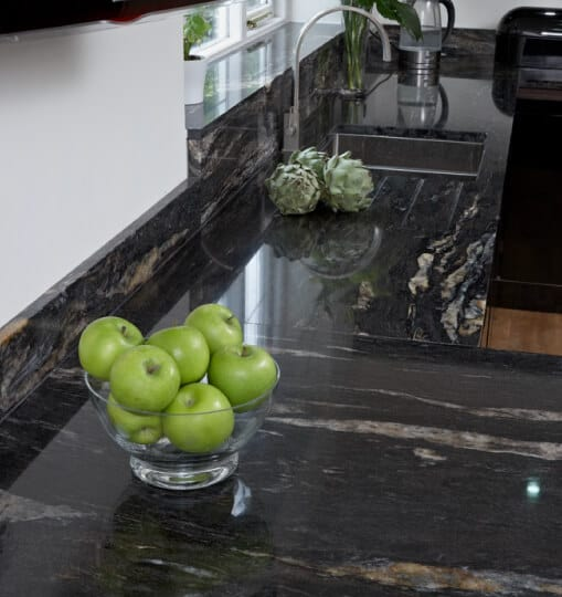 Granite Kitchen Counter with apples in fruit bowl