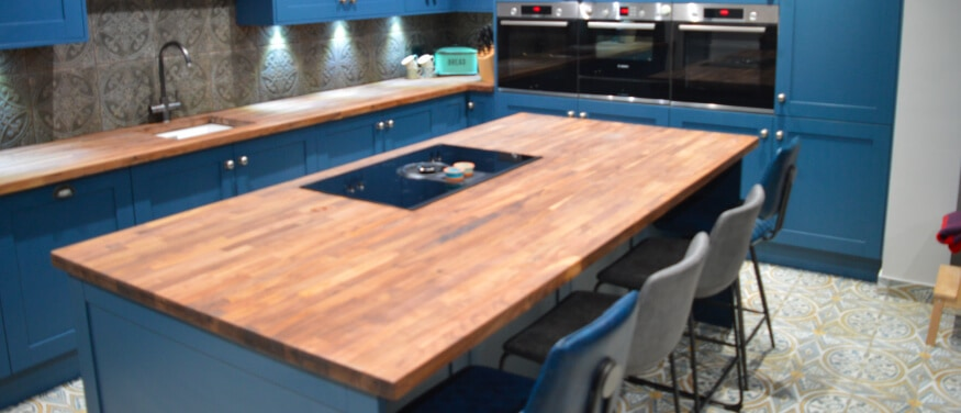 Kitchen finished in Blue with Timber Worktop