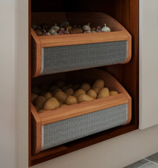 Garlic & Potatoes in pull out drawer storage solution